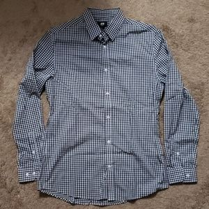 Long Sleeved Slim Fit Gingham H&M Button Up